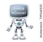 cute little robot cyber monday... | Shutterstock .eps vector #749166532