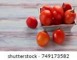 close up red cherry plum... | Shutterstock . vector #749173582