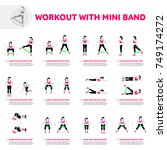 workout with mini band. fitness ... | Shutterstock .eps vector #749174272