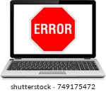 Error Icon Text On Laptop...