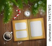 christmas tree. vintage album... | Shutterstock .eps vector #749177872