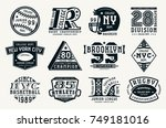 set of emblems in sport style.... | Shutterstock .eps vector #749181016