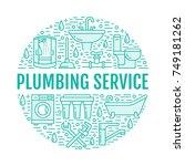 plumbing service blue banner... | Shutterstock .eps vector #749181262