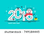 happy 2018 new year flat thin... | Shutterstock .eps vector #749184445