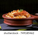 spicy and delicious chicken... | Shutterstock . vector #749185462