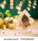 christmas ornaments and tree... | Shutterstock . vector #749186605