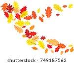 oak leaves flying confetti... | Shutterstock .eps vector #749187562