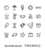 summer icon black thin line set ... | Shutterstock . vector #749190412