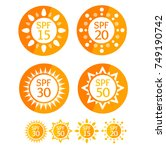 sun cream round orange labels... | Shutterstock . vector #749190742