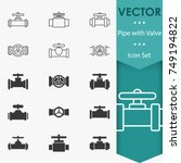 pipe with valve icons | Shutterstock .eps vector #749194822