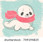 winter illustration with a cute ... | Shutterstock .eps vector #749194825