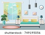 hotel room with a sea view.... | Shutterstock .eps vector #749195056