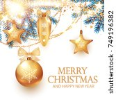 christmas design template with... | Shutterstock .eps vector #749196382