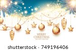 christmas design template with... | Shutterstock .eps vector #749196406