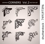 vintage corners set for frames. ... | Shutterstock .eps vector #749197396