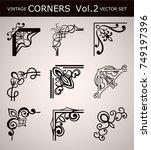 vintage corners set for frames. ... | Shutterstock .eps vector #749197396