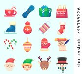 flat christmas new year icons... | Shutterstock .eps vector #749199226