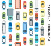 different cars top view... | Shutterstock . vector #749204662