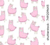 Stock vector pink smiling llama alpaca in different poses on white seamless pattern 749209645