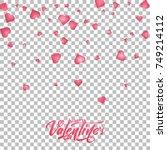valentines day. flying glossy... | Shutterstock .eps vector #749214112