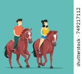 Man And Woman Rides On Horses....