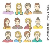 vector set of colored male and... | Shutterstock .eps vector #749217688