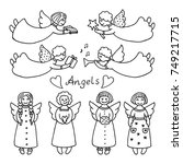set of isolated icons of angels.... | Shutterstock .eps vector #749217715
