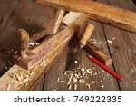 old planer and chisel in a... | Shutterstock . vector #749222335