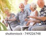 group of smiling senior friends ... | Shutterstock . vector #749226748