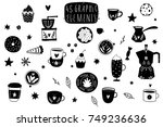 cute coffee theme elements for... | Shutterstock .eps vector #749236636