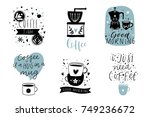 cute coffee theme premade... | Shutterstock .eps vector #749236672