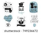 cute coffee theme premade... | Shutterstock .eps vector #749236672