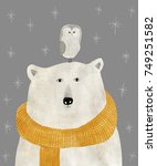 Stock photo watercolor and pencil drawing of a polar bear with an owl on his head christmas illustration 749251582