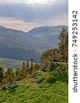 mountain landscape with summer... | Shutterstock . vector #749253142