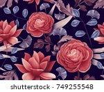 seamless tropical flower  plant ... | Shutterstock . vector #749255548
