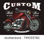 vintage motorcycle on dark... | Shutterstock . vector #749255782