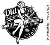 spark plug pin up girl... | Shutterstock . vector #749257675