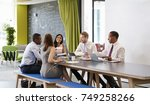 five business colleagues in an...   Shutterstock . vector #749258266