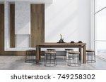 modern dining room interior... | Shutterstock . vector #749258302