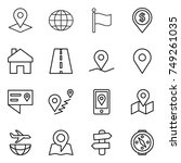 thin line icon set   pointer ... | Shutterstock .eps vector #749261035