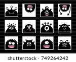 black monster head big set....   Shutterstock .eps vector #749264242