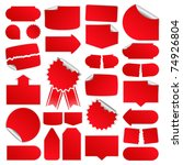set of red vector price tags | Shutterstock .eps vector #74926804