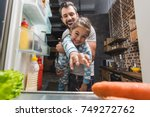 view from fridge on father... | Shutterstock . vector #749272762