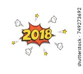 2018 new year postcard or... | Shutterstock .eps vector #749273692
