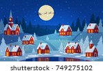festive cozy decorated house or ... | Shutterstock .eps vector #749275102