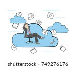man in a working chair in the... | Shutterstock .eps vector #749276176