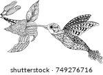 hummingbird and flower. hand...   Shutterstock .eps vector #749276716