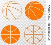 basketball icons set. vector on ... | Shutterstock .eps vector #749278522