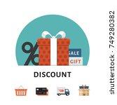 discount  sale  gift. online... | Shutterstock .eps vector #749280382