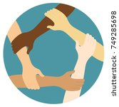 teamwork symbol ring of hands... | Shutterstock .eps vector #749285698